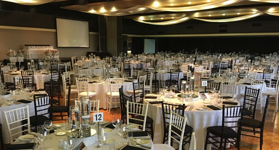 tables set up for a corporate event